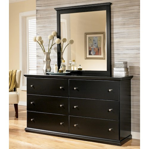 Signature Design by Ashley Maribel Casual 6 Drawer Dresser and Moulded Landscape Mirror