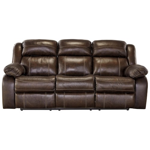 Signature Design by Ashley Branton Leather Match Reclining Power Sofa
