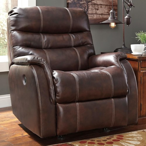 Signature Design by Ashley Bridger Contermporary Leather Match Power Rocker Recliner