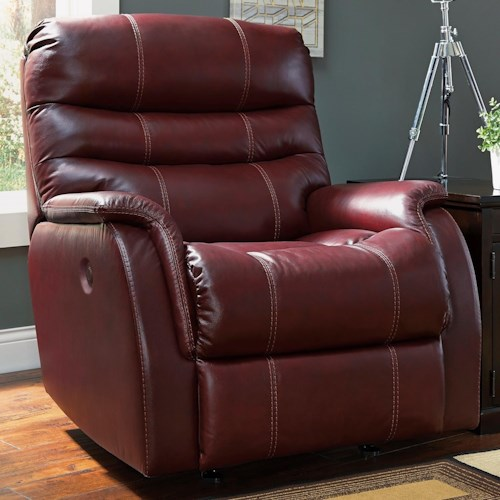 Signature Design by Ashley Bridger Contemporary Leather Match Power Rocker Recliner