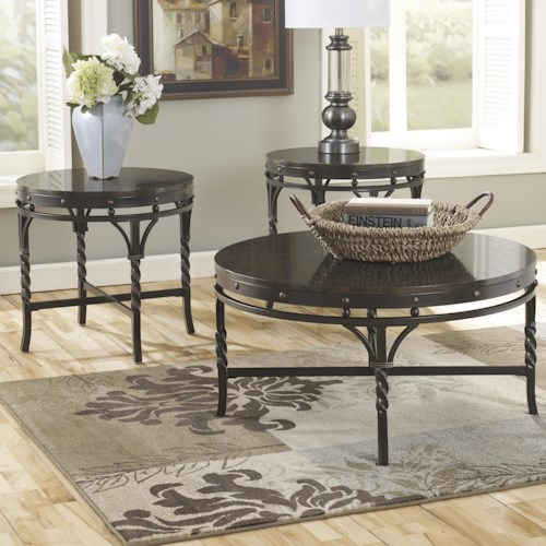 Signature Design by Ashley Brindleton 3-Piece Metal & Stone-Look Top Occasional Table Set
