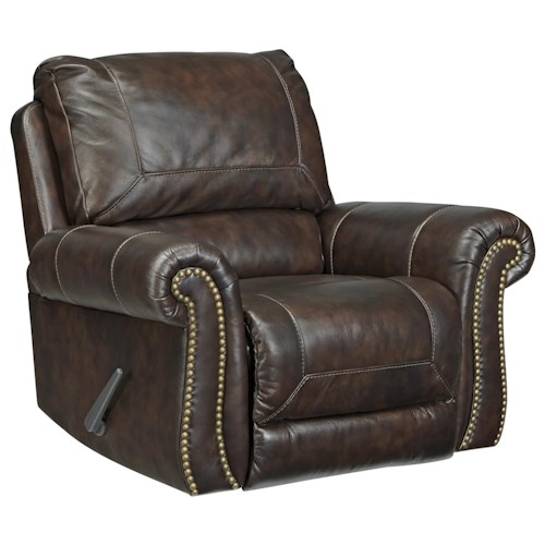 Signature Design by Ashley Bristan Traditional Leather Match Rocker Recliner with Rolled Arms & Nailhead Trim