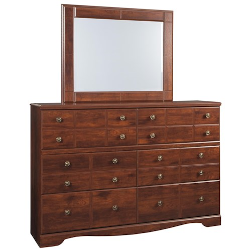 Signature Design by Ashley Brittberg Six Drawer Dresser & Mirror in Cherry Finish