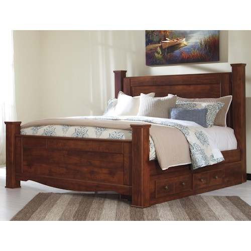 Signature Design by Ashley Brittberg King Poster Bed with Underbed Storage