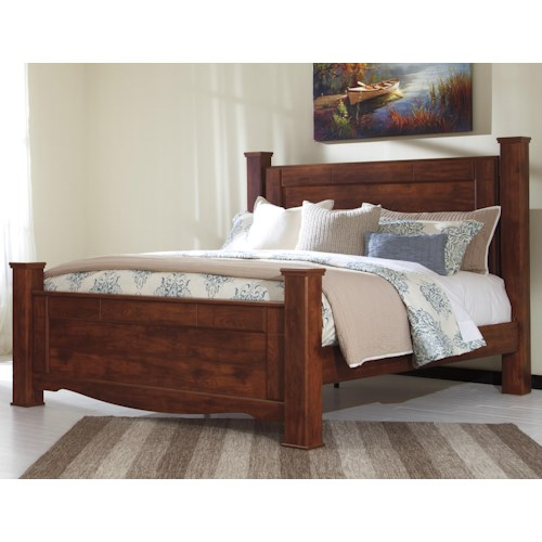 Signature Design by Ashley Brittberg King Poster Bed in Cherry Finish