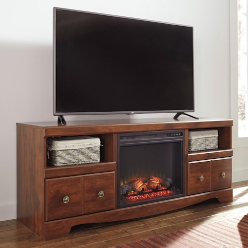 Signature Design by Ashley Brittberg Cherry Finish Large TV Stand with Fireplace Insert
