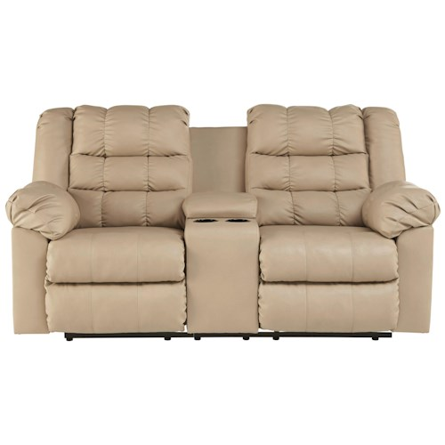 Signature Design by Ashley Brolayne DuraBlend® Casual Contemporary Double Reclining Loveseat w/ Console