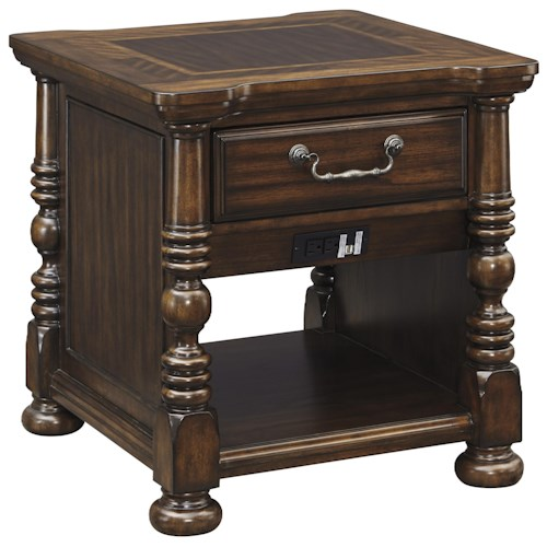 Signature Design by Ashley Brosana Traditional Rectangular End Table with Built-in Outlet and USB Charger