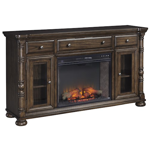 Signature Design by Ashley Brosana Traditional Extra Large TV Stand with Electric Fireplace Insert & Drop Down Drawer