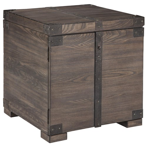 Signature Design by Ashley Burladen Elm Veneer Trunk Style Square End Table in Grayish Brown Finish