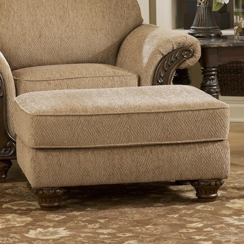 Signature Design by Ashley Cambridge - Amber Traditional Ottoman with Carved Wood Feet