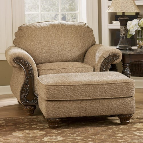 Signature Design by Ashley Cambridge - Amber Traditional Chair & Ottoman with Carved Wood Accents