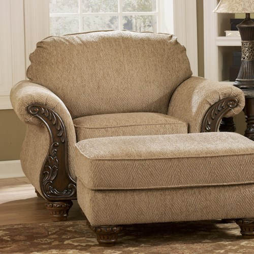 Signature Design by Ashley Cambridge - Amber Traditional Arm Chair with Carved Wood Accents