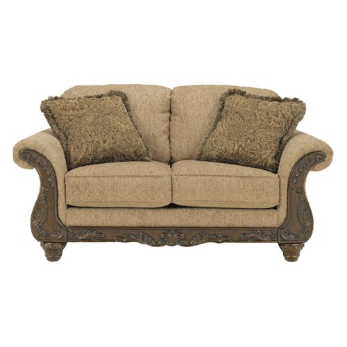 Signature Design by Ashley Cambridge - Amber Traditional Loveseat with Carved Wood Accents