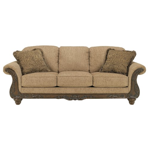 Signature Design by Ashley Cambridge - Amber Traditional 3-Seat Sofa with Carved Wood Accents
