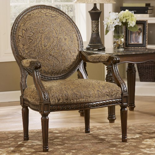 Signature Design by Ashley Cambridge - Amber Traditional Exposed Wood Accent Chair