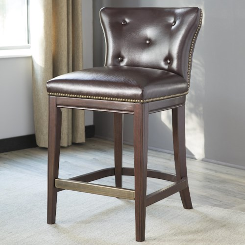 Signature Design by Ashley Canidelli Brown Upholstered Counter Height Stool with Low Back