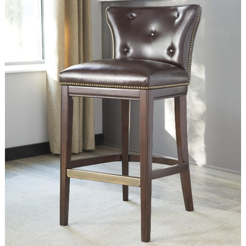 Signature Design by Ashley Canidelli Brown Upholstered Barstool with Low Back