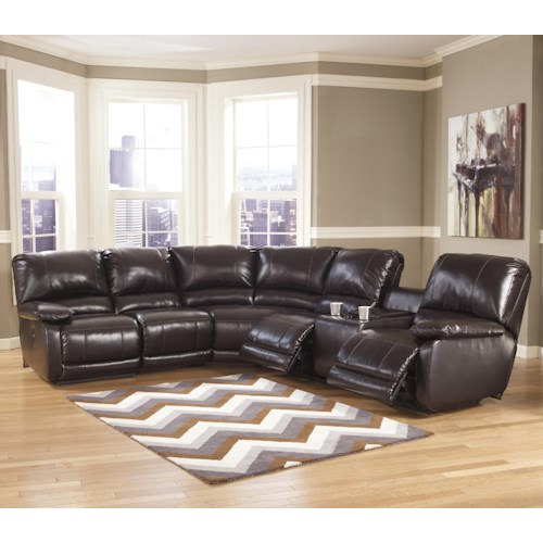 Signature Design by Ashley Capote DuraBlend® - Chocolate Power Reclining Sectional with Heat, Massage, and Storage