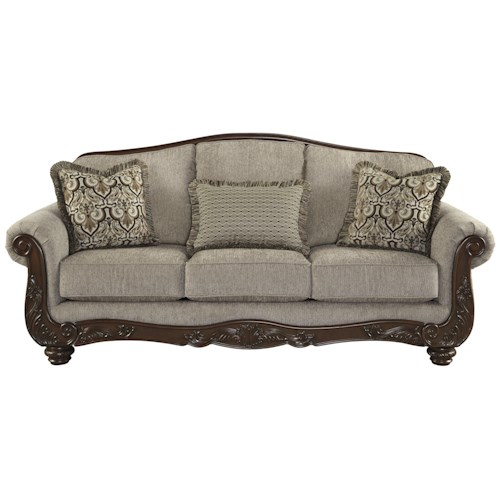 Signature Design by Ashley Cecilyn Traditional Sofa with Showood Trim & Camel Back