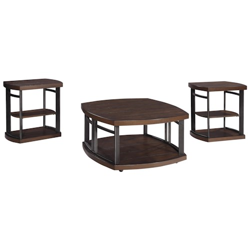 Signature Design by Ashley Challiman 3-Piece Occasional Table Set with Distressed Pine Tops