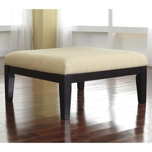Signature Design by Ashley Chamberly - Alloy Contemporary Oversized Accent Ottoman with Buttercup Fabric & Wood Legs