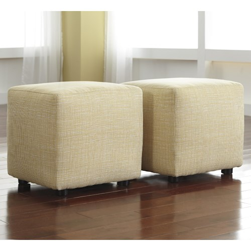 Signature Design by Ashley Chamberly - Alloy Set of 2 Cube Ottomans in Buttercup Fabric