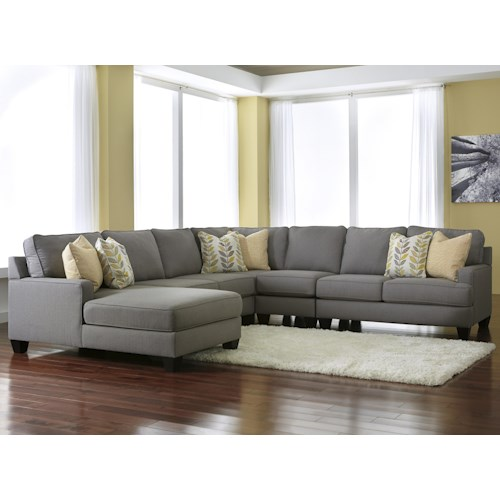 Signature Design by Ashley Chamberly - Alloy Modern 5-Piece Sectional Sofa with Left Chaise & Reversible Seat Cushions
