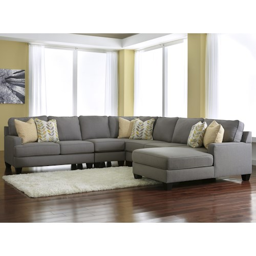 Signature Design by Ashley Chamberly - Alloy Modern 5-Piece Sectional Sofa with Right Chaise & Reversible Seat Cushions