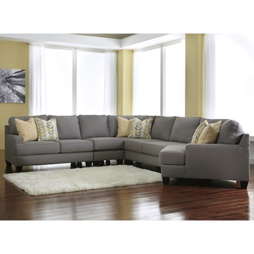 Signature Design by Ashley Chamberly - Alloy Modern 5-Piece Sectional Sofa with Right Cuddler & Reversible Seat Cushions