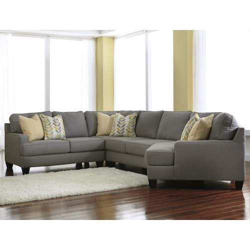Signature Design by Ashley Chamberly - Alloy Modern 4-Piece Sectional Sofa with Right Cuddler & Reversible Seat Cushions