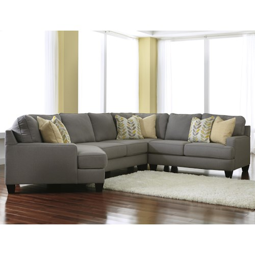 Signature Design by Ashley Chamberly - Alloy Modern 4-Piece Sectional Sofa with Left Cuddler & Reversible Seat Cushions