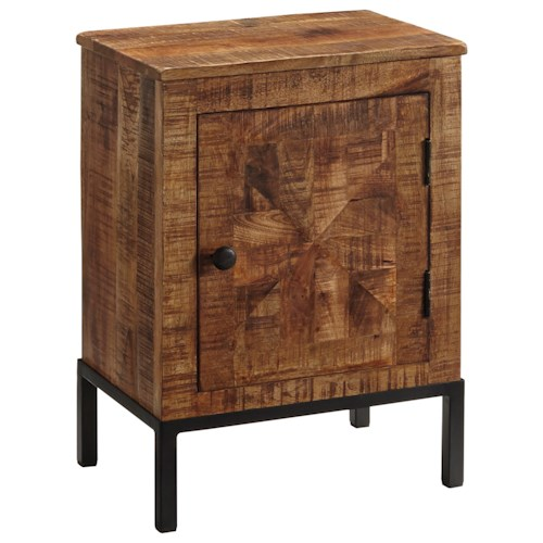 Signature Design by Ashley Charlowe Modern Rustic Door Night Stand with Metal Base