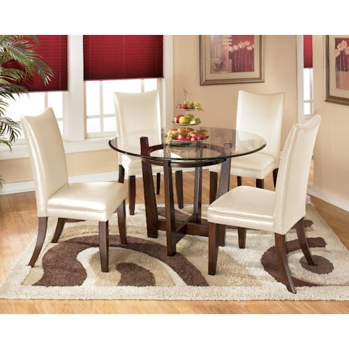 Signature Design by Ashley Charrell 5 Piece Round Dining Table Set with Ivory Chairs