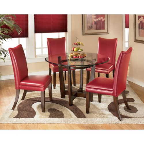 Signature Design by Ashley Charrell 5 Piece Round Dining Table Set with Red Chairs