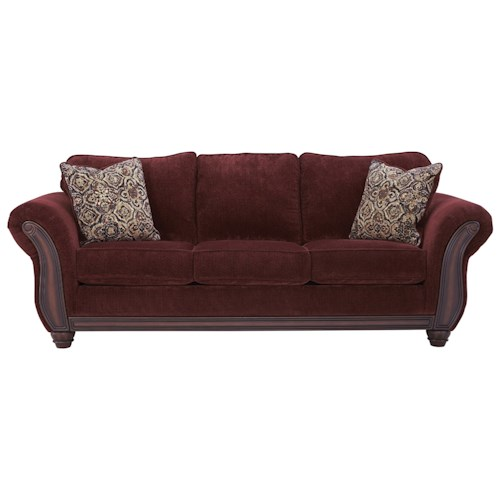 Signature Design by Ashley Chesterbrook Traditional Queen Sofa Sleeper with Memory Foam Mattress & Flared Rolled Arms