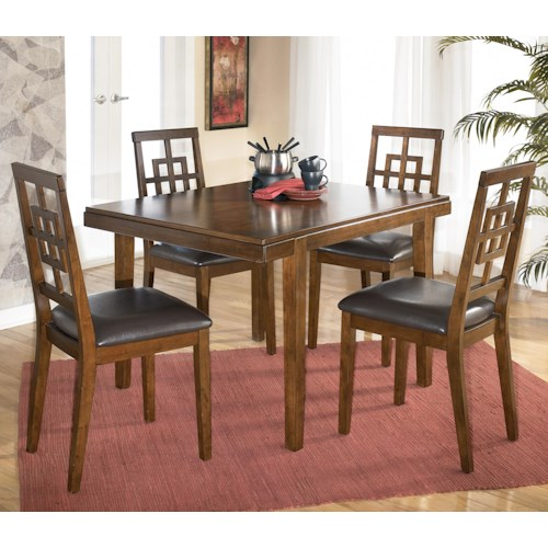 Signature Design by Ashley Cimeran Rectangular Table w/ 4 Modern Open Grid Side Chairs