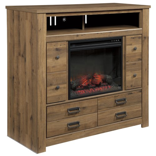 Signature Design by Ashley Cinrey Contemporary Media Chest with Fireplace Insert