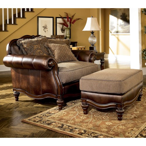 Signature Design by Ashley Claremore - Antique Traditional Two-Toned Chair and 1/2 and Ottoman