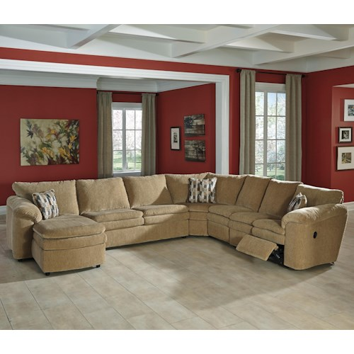 Signature Design by Ashley Coats Casual Contemporary 5-Piece Reclining Sectional with Left Chaise