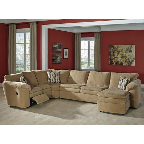 Signature Design by Ashley Coats Casual Contemporary 4-Piece Reclining Sectional with Right Chaise