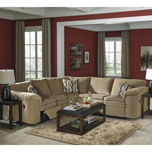 Signature Design by Ashley Coats Casual Contemporary 3-Piece Reclining Sectional with Pillow Arms