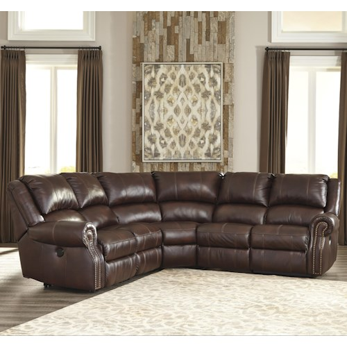 Signature Design by Ashley Collinsville Transitional 5-Piece Leather Match Power Reclining Sectional