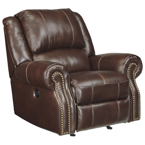 Signature Design by Ashley Collinsville Transitional Leather Match Power Rocker Recliner with Rolled Arms & Nailhead Trim