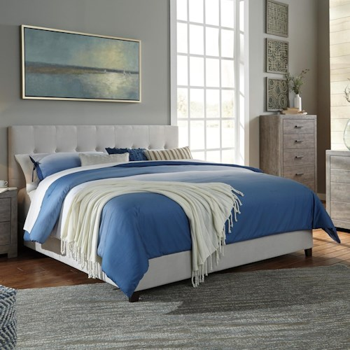 Signature Design By Ashley Contemporary Upholstered Beds Queen Upholstered Bed In Cream Fabric