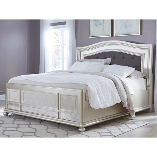 Signature Design by Ashley Coralayne King Panel Bed with Arched Upholstered Headboard and Silver Finish Frame