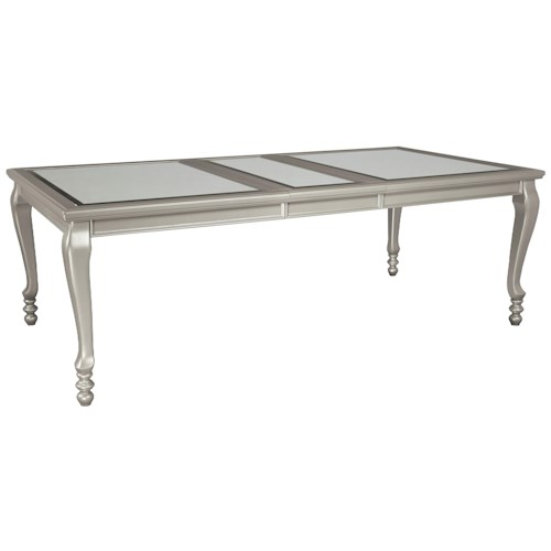 Signature Design by Ashley Coralayne Rectangular Dining Room Extension Table with Glass Inserts