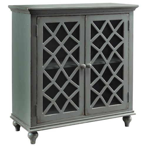 Signature Design by Ashley Mirimyn Lattice Glass Door Accent Cabinet in Antique Gray Finish