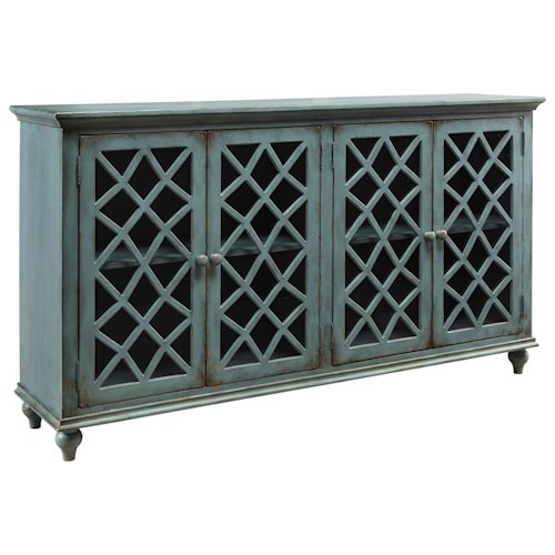 Signature Design by Ashley Mirimyn Lattice Glass Door Accent Cabinet in Antique Teal Finish