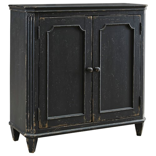 Signature Design by Ashley Mirimyn French Provincial Style Door Accent Cabinet in Antique Black Finish